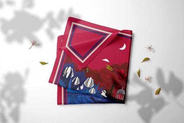 Carré 100 % en twill de soie ou coton – Fabriqué en France - Crépuscule rouge