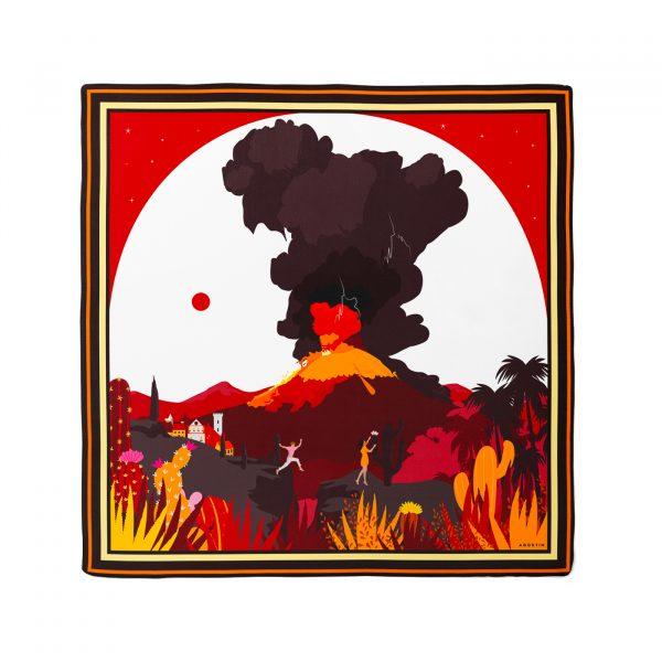 Carré 100% twill de soie ou 100% coton - Fleur de feu